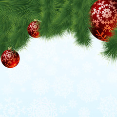 Evergreen branches with red ornaments. EPS 8