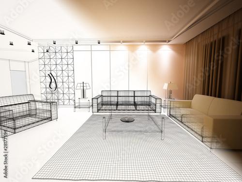 Salotto rendering 3d divano illustrazione disegno for Divano disegno