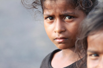 Indian Rural Girl with Grim Expression Wall mural