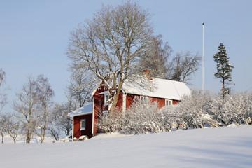 cottage, farm in winter sweden