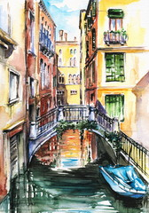 Venice canal-watercolor .