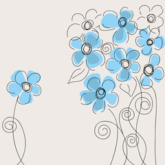 Tuinposter Abstract bloemen Cute blue flowers