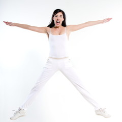 woman  workout stretch jump happy
