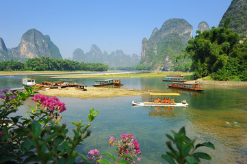 Beautiful Karst mountain landscape in Yangshuo Guilin, China .