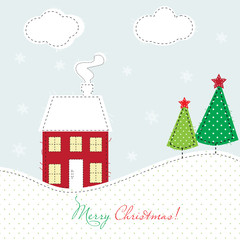 Christmas card with house and  trees
