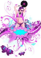 Poster Floral woman Partyflyer Vorlage