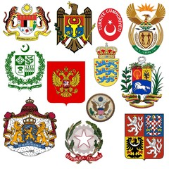 vector set of coats of arms