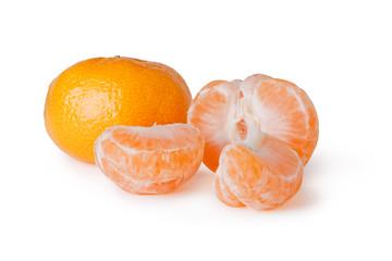 fresh mandarin fruits on a white background