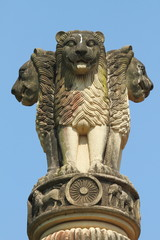 sculpture of emblem of India, four lions