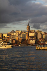 Galata at sunset in istanbul, Turkey.