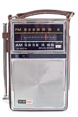 XXXL Vintage Portable Transistor Radio Isolated on White Backgro