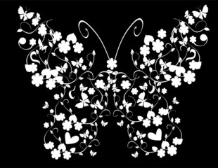 vintage floral butterfly