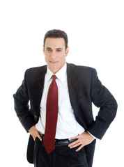 Confident White Businessman Hands Hips Suit Isolated Background