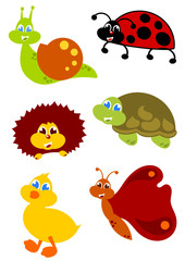 little garden animals icon set