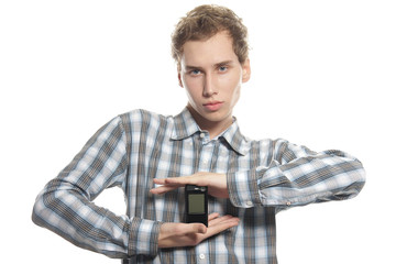 young man with mobile phone over white
