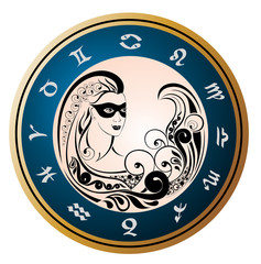 Zodiac Wheel with sign of Virgo.