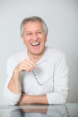 Closeup of happy senior man