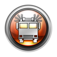 """Glossy Orb Button """"Fire Engine"""""""