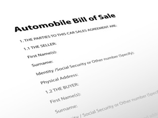 """""""Automobile Bill of Sale"""" (contract buyer seller agreement car)"""