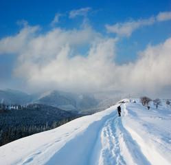 Winter landscape in mountains