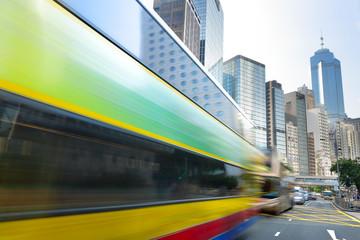 Bus speeding through the street