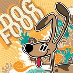 Illustrated comic dog food background.