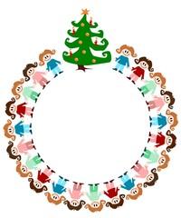 Illustration: Kinder im Kreis mit Weihnachtsbaum