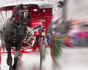 Red Christmas Carriage