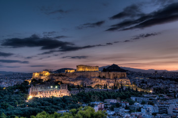 Spoed Fotobehang Athene Parthenon and Acropolis, Athens at sunrise