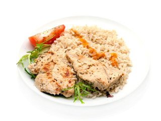 Turkey breast steaks seasoned with spices on a pan