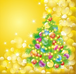 christmas tree on golden lights background