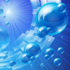 Blue bubbles background, vector image