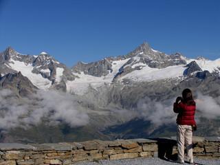 Swiss beauty, girls view to Obergabelhorn from Gornergrad