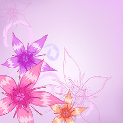 Purple flowers with ornament designs for greeting cards