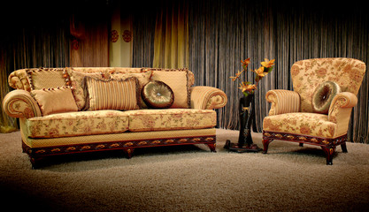 Vintage sofa and armchair