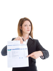 Caucasian Woman Pointing at Past Due Medical Bill Isolated White