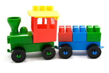 plastic train made from colorful building blocks