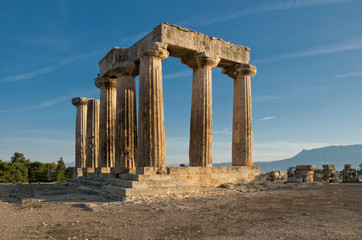 Temple of Apollo, Ancient Corinth in early morning