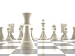The queen chess piece in-focus