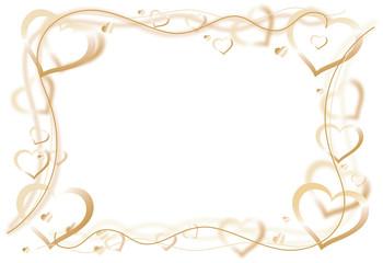 Herzen golden Rahmen