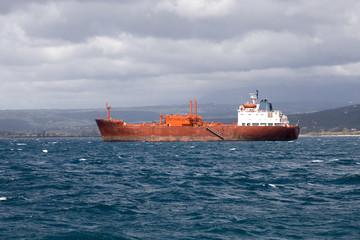 The ship docking on Mediterranean sea