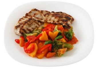 grilled pork with boiled vegetables