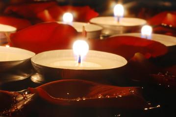 candles and Rose petals