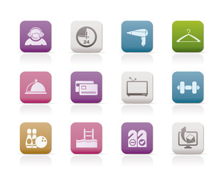 hotel and motel amenity - icons vector icon set