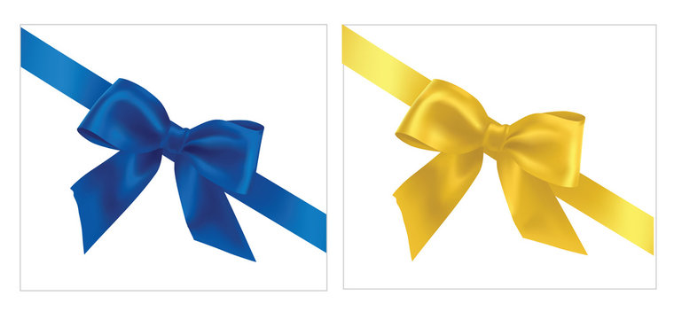 Vector illustration. Blue and yellow gift bows with ribbons.