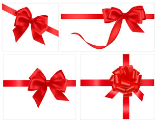Collection of holiday red bows with ribbons. Vector.