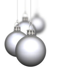 Weihnachtskugeln- 4x Silber Chrom 01 hängend