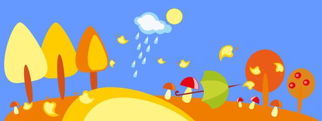 baby drawing - a wood with mushroom, umbrella and rain