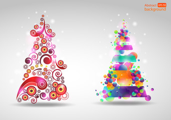 Set of abstract new year tree