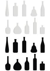 Vector set of wine bottles